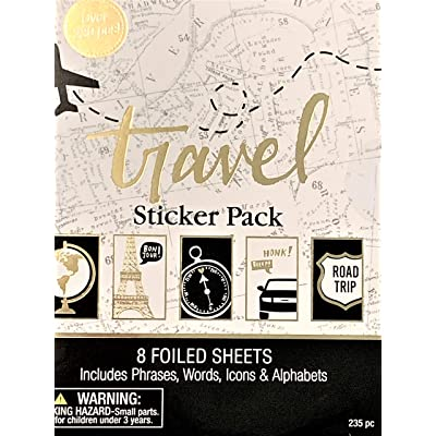 Elegant Blooms & Things Travel Sticker Book, 235 pcs, Black, Gold Foil, White, Journals, Albums, Planners: Toys & Games