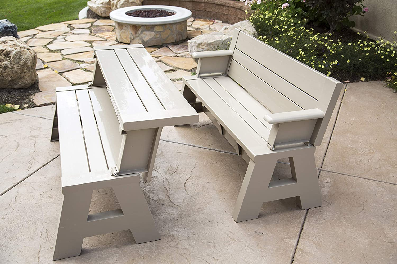 "Premiere Products 5RCATA Tan Convert A Bench, Approximate Size: Table 27"" H x 14"" D 31"" H x 58"" L Seat 17"" H x 14"" D Weighs 38 lbs : Garden & Outdoor"