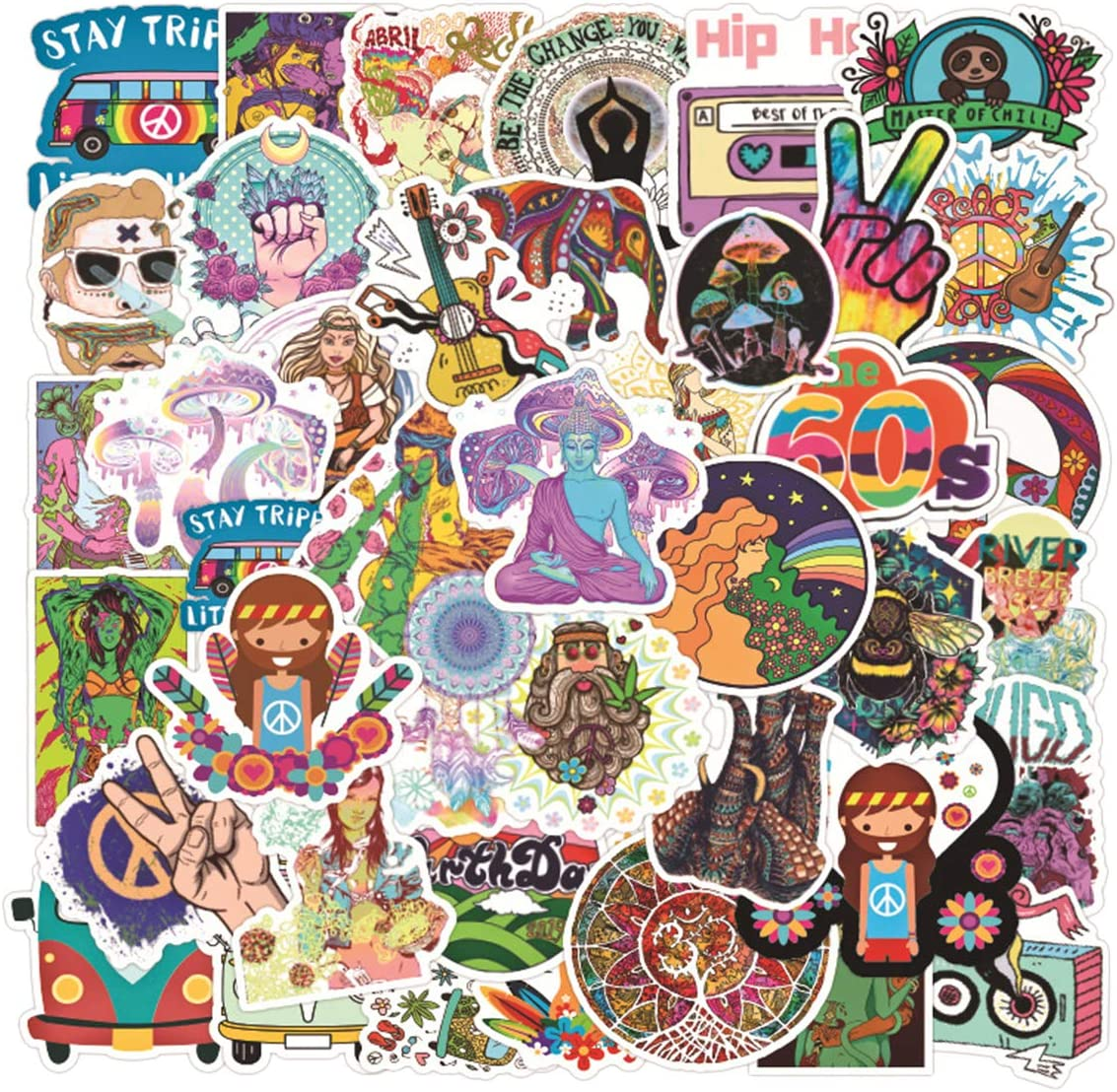50pcs Hippie Stickers Laptop Adult Sticker Waterproof Stickers Luggage Skateboard Water Bottle Stickers Decal Bicycle Bumper Snowboard Decorate Gift for Kid(Hippie
