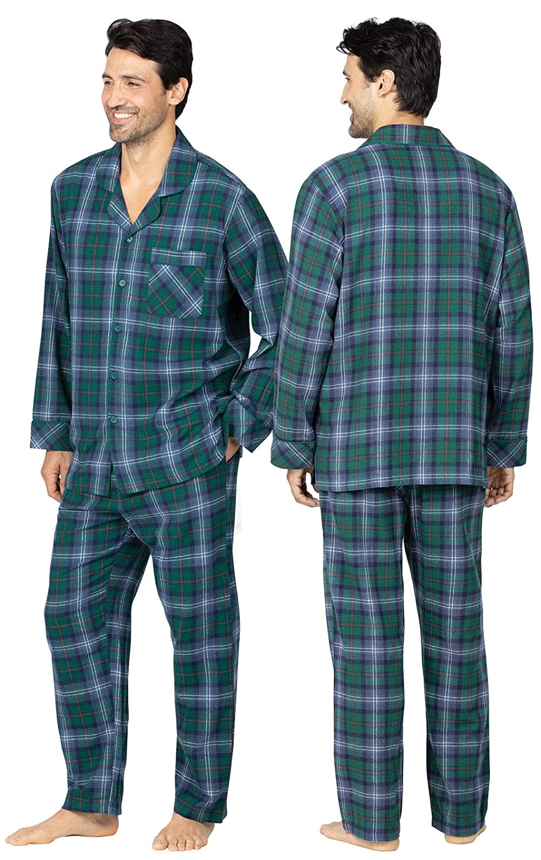 Button Top PajamaGram Mens Flannel Pajamas Sets Cotton Pajamas for Men