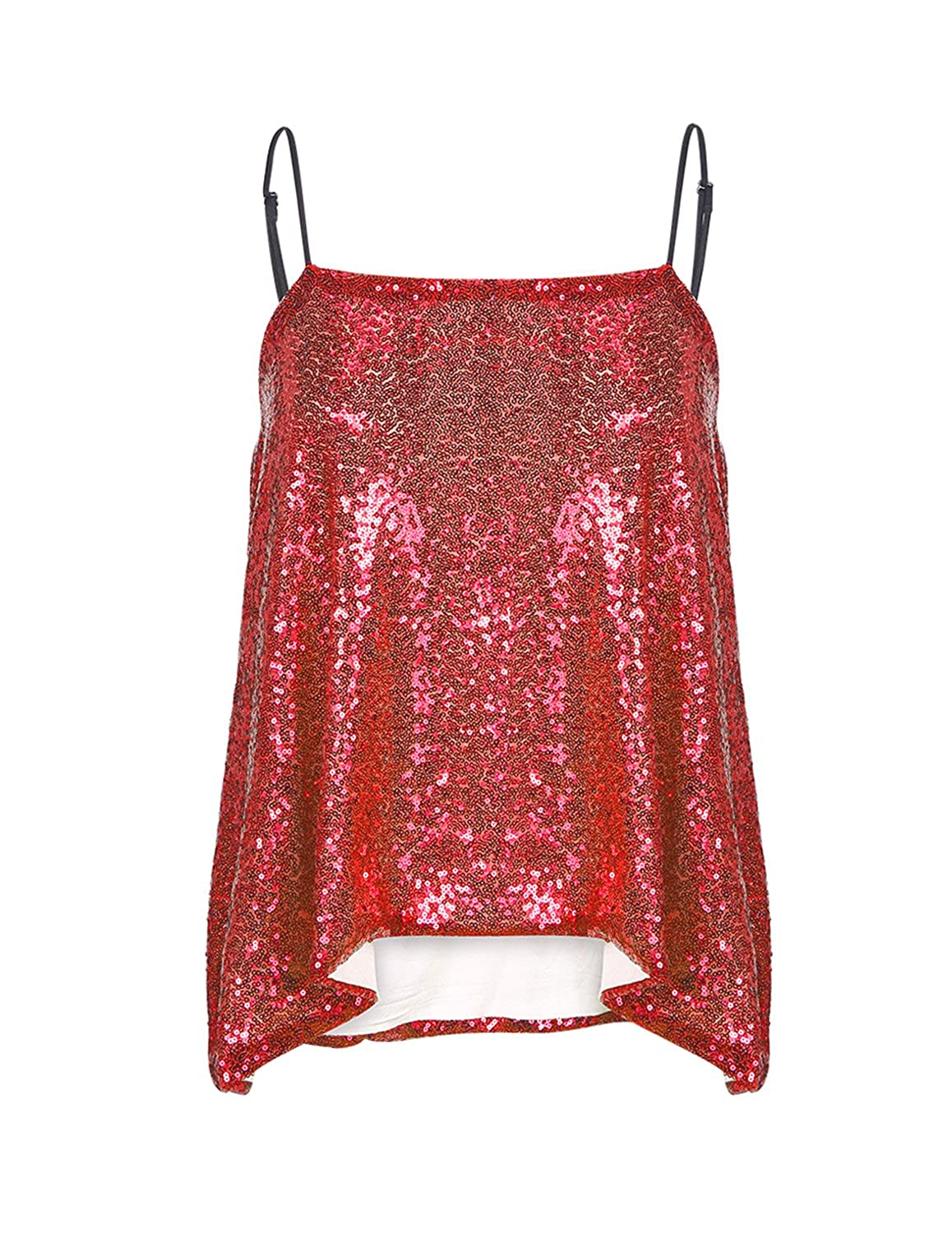 HaoDuoYi Womens Sparkly Sequin Spaghetti Strap Party Club Top Shirt