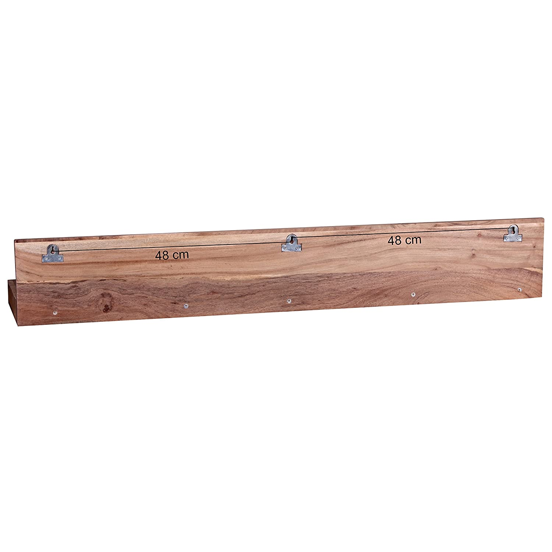 WOHNLING WOHNLING WOHNLING Wandregal Massiv-Holz Akazie Holzregal 110 cm breit Landhaus-Stil Hönge-Regal Echt-Holz Wand-Board Natur-Produkt Wandkonsole dunkel-braun Brett unbehandelt Regale zum Aufhöngen Unikat Ablage bcb600
