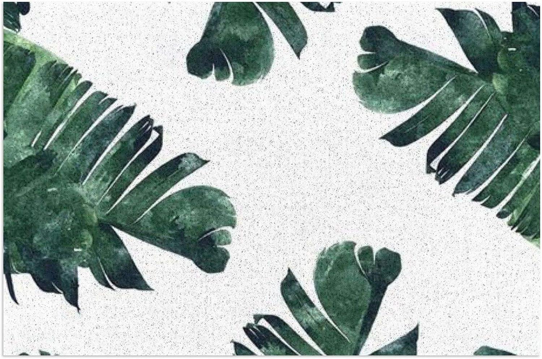 Felpudo con hojas de palma, felpudo de bienvenida, felpudo para exteriores, alfombra de interior antideslizante, alfombra lavable para porche frontal, cocina, entrada, 40 x 60 cm