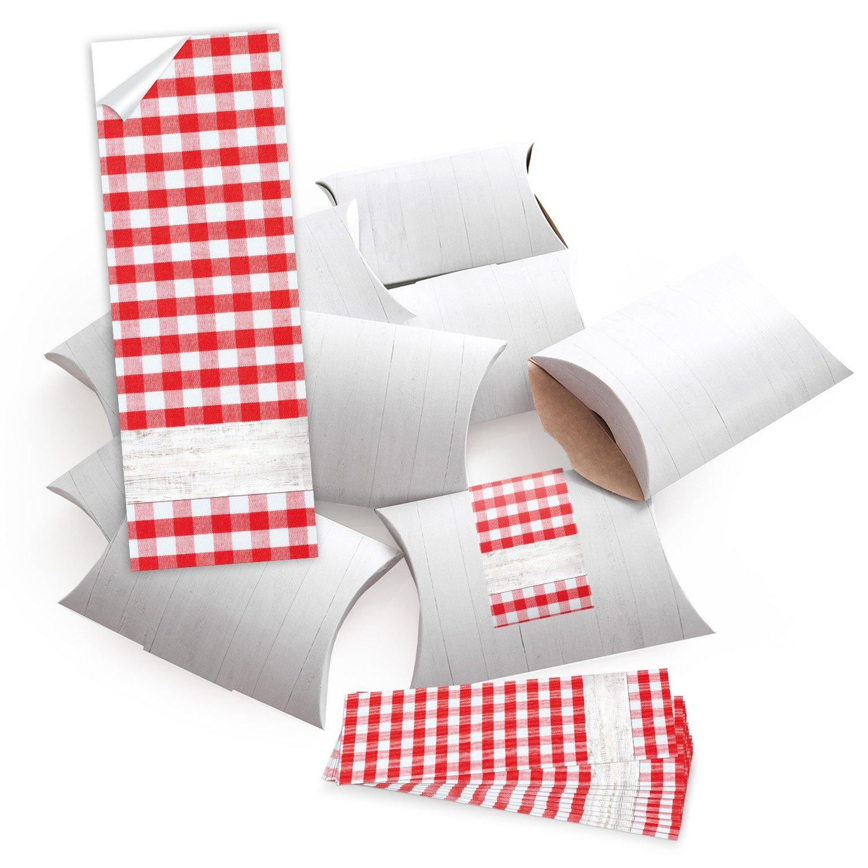 10piccolo regalo scatole regalo scatole di cartone, Bianco (14,5X 10,5+ 3cm altezza) con adesivo fascetta rosso bianco a quadretti, scrivere–selber da Creare e Riempire–Come Confezione Jeanette Dietl