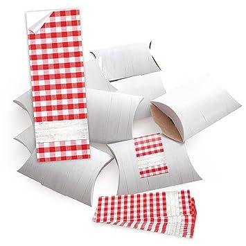50 cajas pequeñas regalo aspecto de madera color blanco con adhesivo con precinto Rojo Blanco A