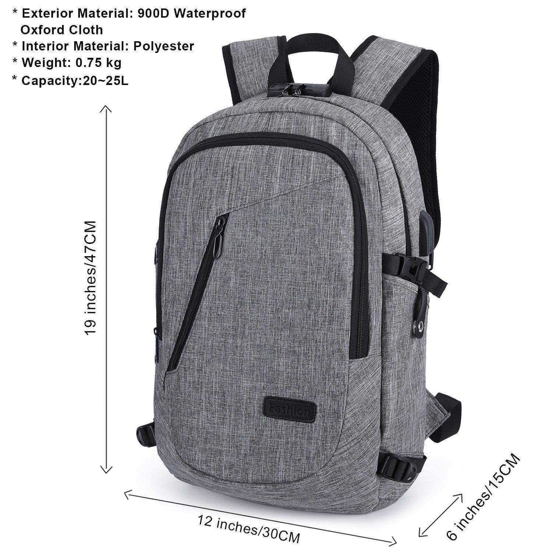 WAWJ Anti-Theft Business Laptop Backpack with USB Charging Port /& Headphone Jack Rucksack Waterproof Travel School Bag Black
