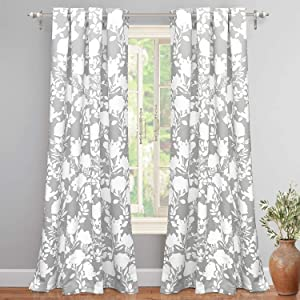 """DriftAway Floral Delight Botanic Pattern Room Darkening/Thermal Insulated Grommet Unlined Window Curtains, Set of Two Panels, Each 52""""x84"""" (Gray)"""