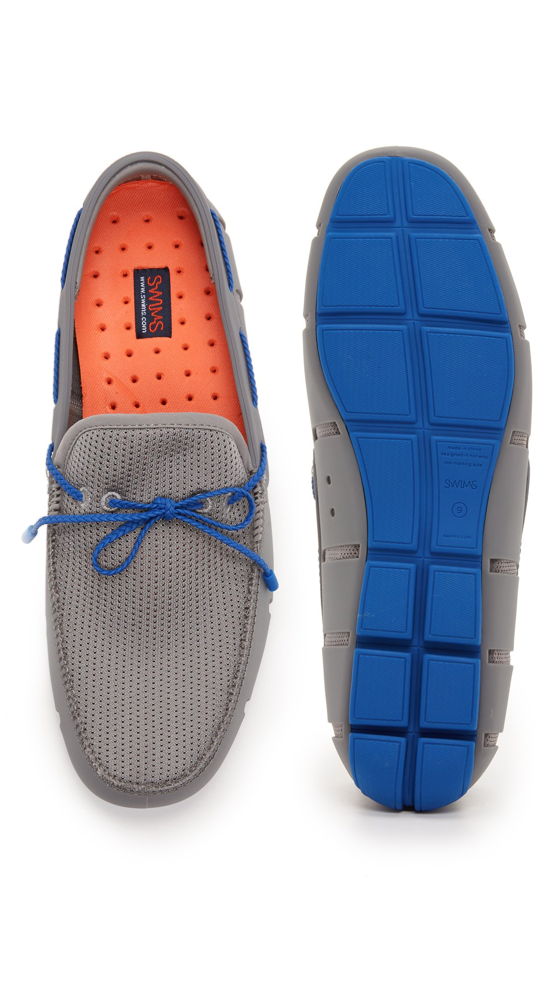 SWIMS Men's Braided Lace Loafers, Grey/Blue, 7 D(M) US by SWIMS (Image #3)
