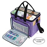 "Teamoy Knitting Bag, Yarn Tote Organizer with Inner Divider (Sewn to Bottom) for Crochet Hooks, Knitting Needles(Up to 14""), Project and Supplies, Purple -No Accessories Included"
