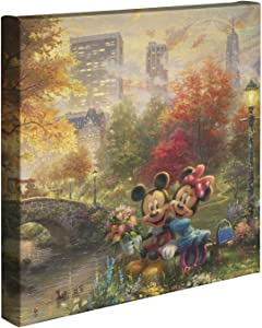Thomas Kinkade Studios Disney's Mickey and Minnie Sweetheart Central Park 14 x 14 Gallery Wrapped Canvas