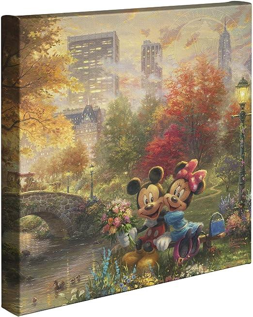 Thomas Kinkade Studios Mickey and Minnie In Paris 14 x 14 Canvas Gallery Wrap
