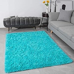 Modern Fluffy Large Area Rugs for Living Room Bedroom, Soft Shaggy Plush Long Fur Rug Kids Non-Slip Play Mats, Fuzzy Floor Carpets for Girls Room Dorm Nursery Indoor Decor, 3x5 Feet Teal Blue