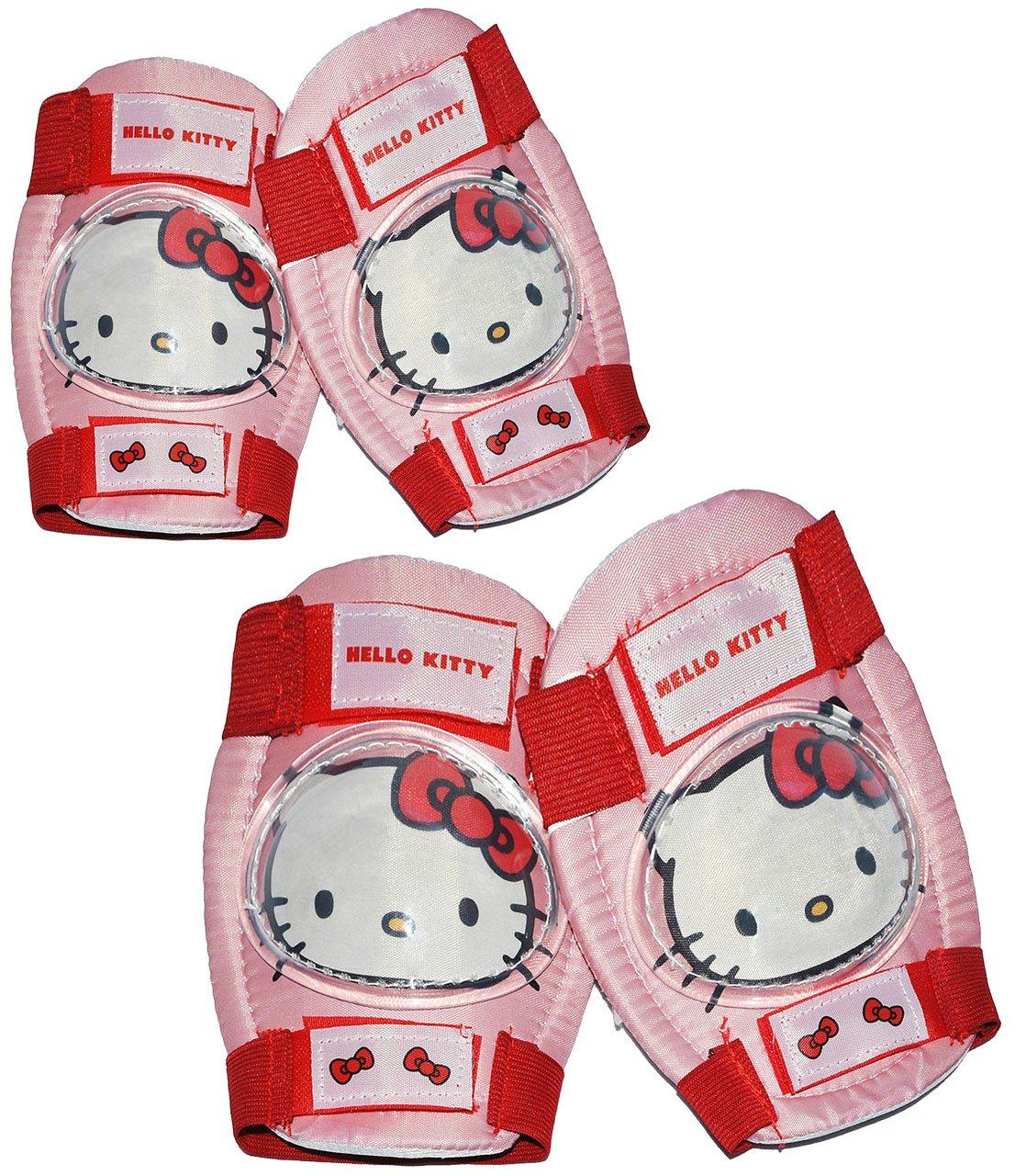 4 tlg. Kinder Set Knieschützer Hello Kitty - 5 bis 10 Jahre - Ellenbogenschützer Gelenkschützer Knieschoner rosa pink Kinder-Land