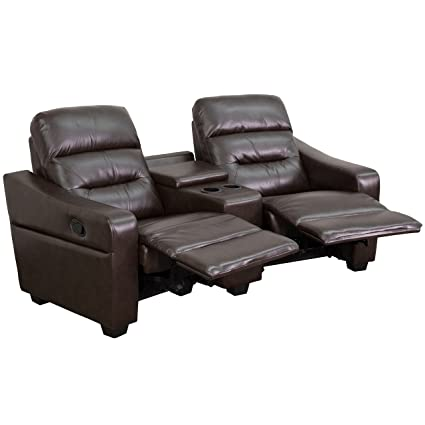 Flash Furniture Futura Series 2 Seat Reclining Brown Leather Theater  Seating Unit With Cup Holders