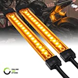 NBWDY Universal 2pc Motorcycle LED Turn Signal Light Waterproof Amber Lights Strip for Turn Signal Backup License Plate with Total 12LED Indicator Blinker Light 2x 6LED Amber Light Bar