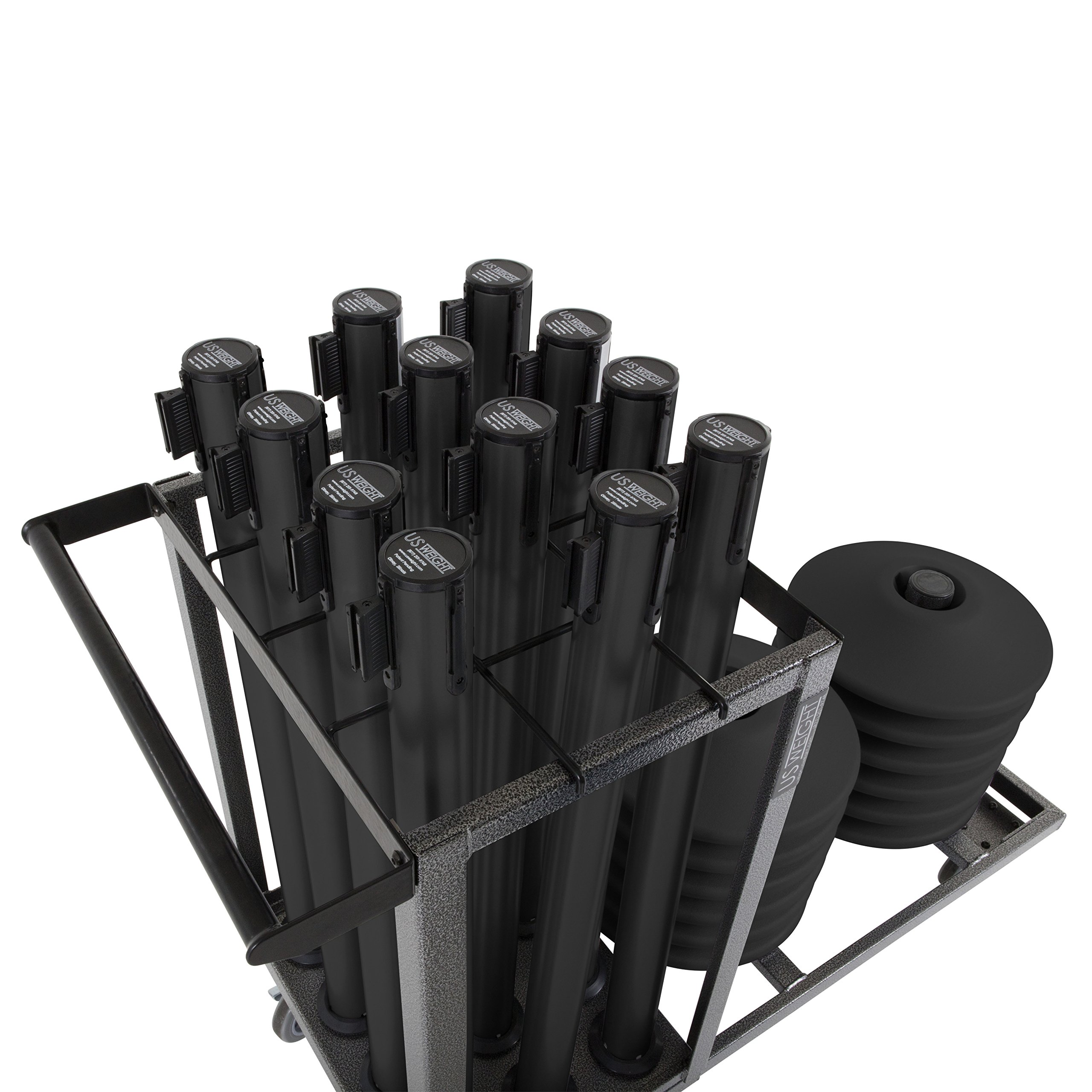 US Weight Statesman Stanchion Cart Kit – 12 Premium Black Steel Stanchions with Cart by US Weight (Image #10)