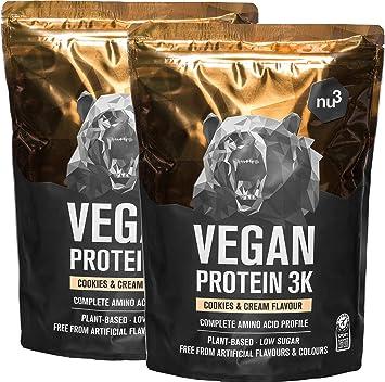 Batido de proteína vegana - Proteína vegetal 3K en polvo - de 3 componentes vegetales (guisante, cáñamo & arroz) - 2 Kg sabor cookies & cream - Para ...