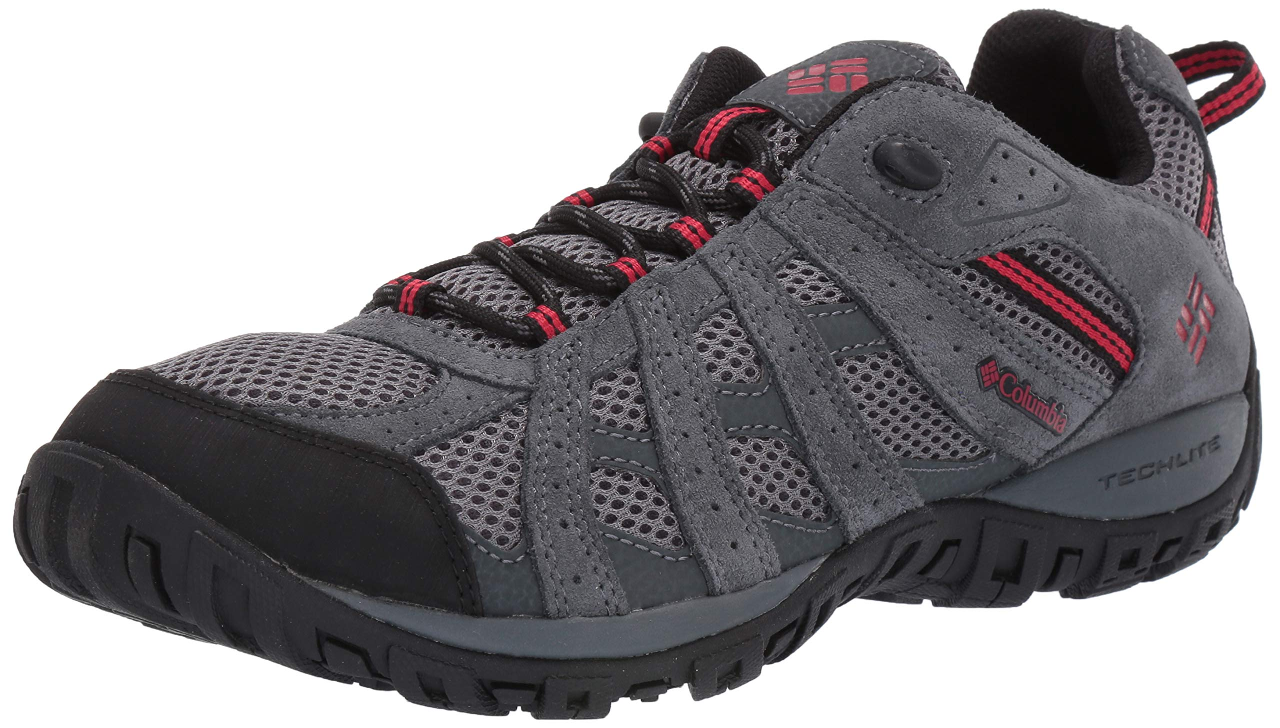 Columbia Men's Redmond Hiking Shoe, TI Grey Steel, Mountain Red, 7