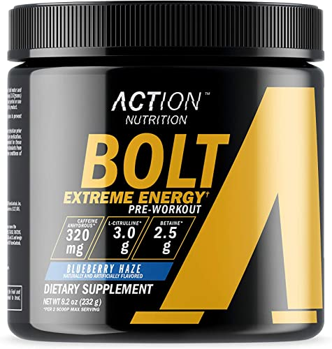Bolt Extreme Energy Pre Workout Powder Blueberry Haze – Sugar Free Preworkout Energy Supplement for Men Women – 320mg Caffeine 3.2g Beta Alanine 3 Patented Ingredients 30 Servings