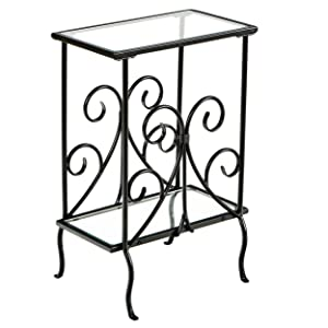 Decorative Metal Magazine Table - Decorative Iron Scrollwork - Glass Top End Table