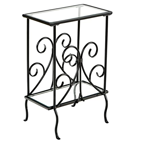 Decorative Metal Magazine Table – Decorative Iron Scrollwork – Glass Top End Table