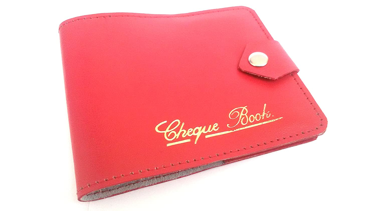 AKSHIDE Red Bonded Leather Style Cheque Book Holder /Leather Style Cheque Book Cover