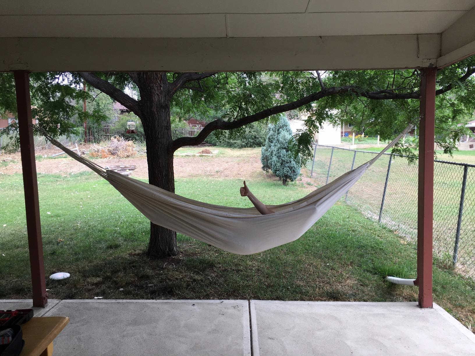 This hammock is a cocoon of coziness. My only complaint is that the seller emails a pdf of the instructions post delivery