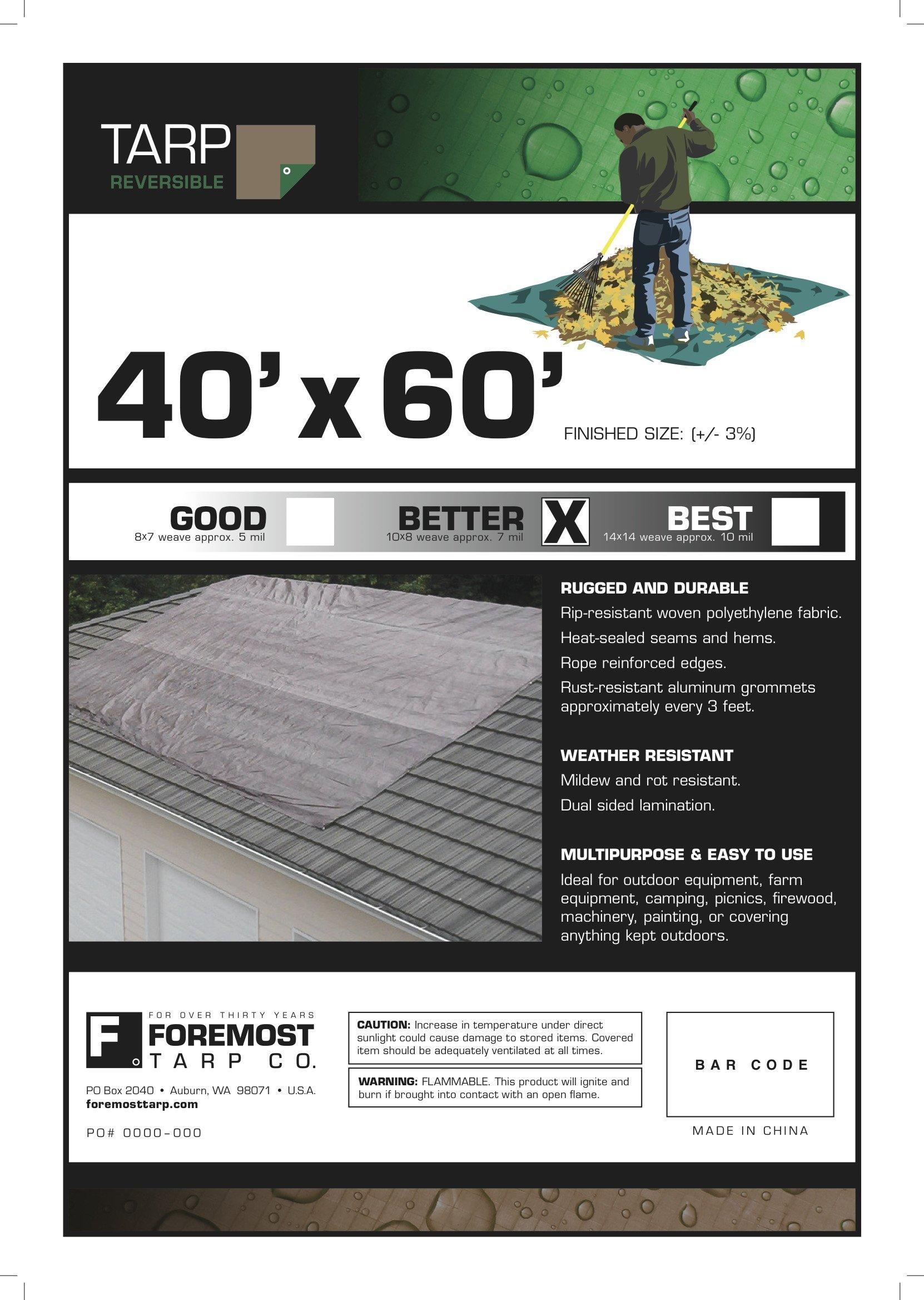 40' x 60' Dry Top Brown/Green Reversible Full Size 7-mil Poly Tarp item #140606