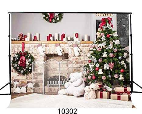 sjoloon 7x5ft bear fireplace christmas tree photography backdrops for children photo studio background jlt10302 - Fireplace Christmas Decorations Amazon