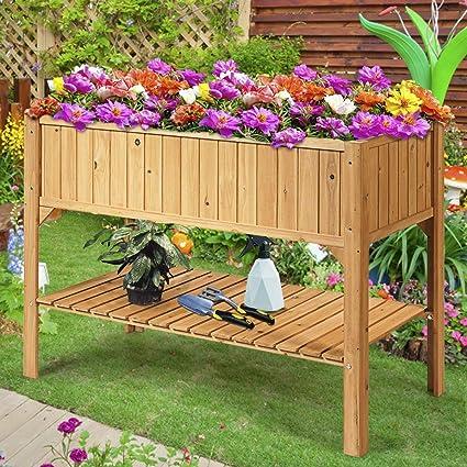 COSTWAY Jardinera con Estante de Madera Maceta para Jardín Flora Planta: Amazon.es: Jardín