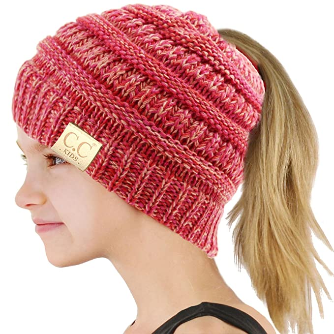 7b01d24dc34 C.C BeanieTail Kids  Children s Soft Cable Knit Messy High Bun Ponytail  Beanie Hat
