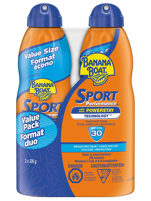 Banana Boat Sport Performance Ultra-Lightweight Sunscreen Spray, SPF 30, Twin Pack (2 x 226 Grams)