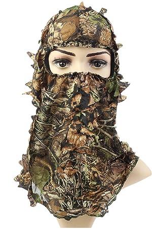 TYOUMAY Máscara de Camuflaje con diseño de Hojas de Ghillie 3D para Caza, Caza, Tiro y Ropa: Amazon.es: Deportes y aire libre