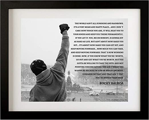 VARIOUS SIZES ROCKY BALBOA QUOTE CANVAS WALL ART FRAMED PICTURE PRINT BOXING