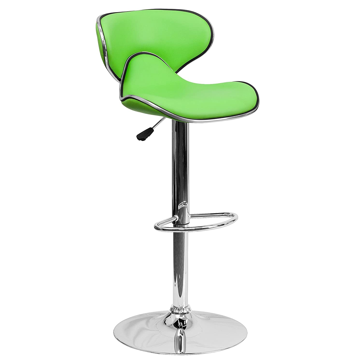Flash Furniture Contemporary Cozy Mid-Back Black Vinyl Adjustable Height Barstool with Chrome Base DS-815-BK-GG