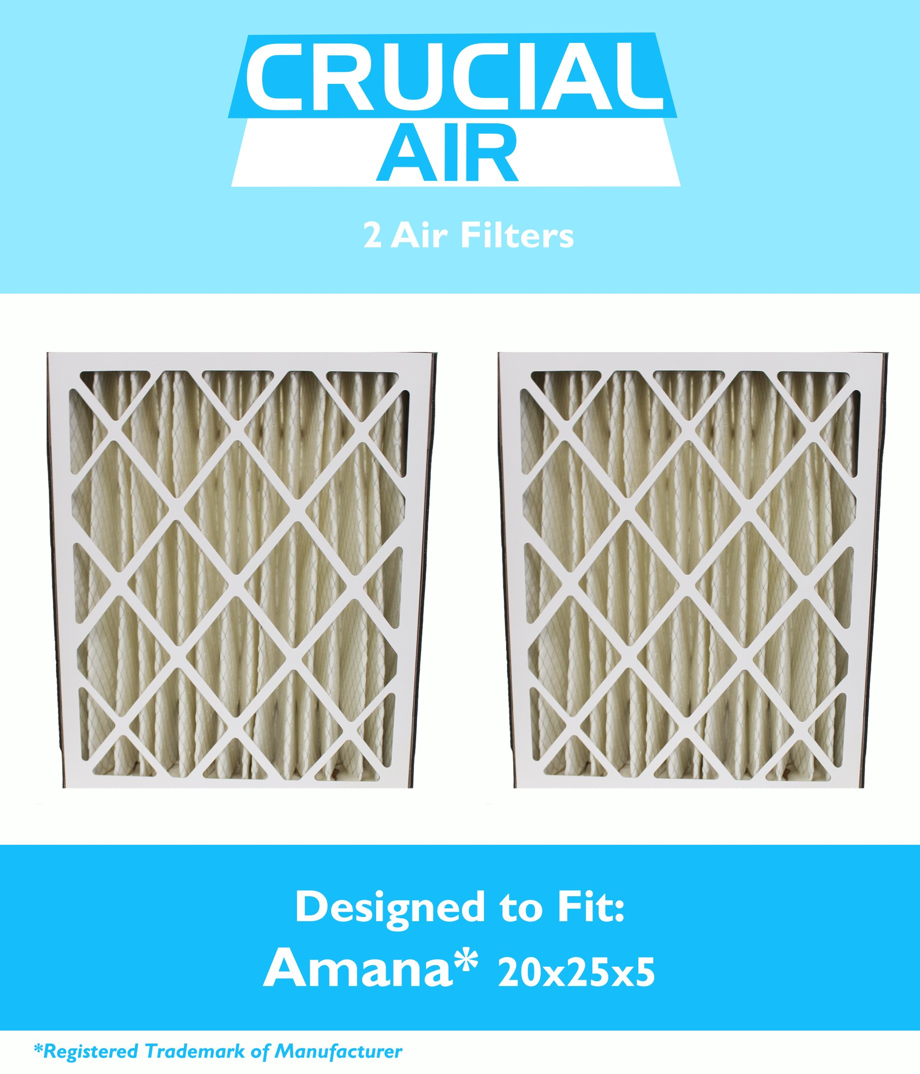 Think Crucial 2 Replacements Amana 20x25x5 MU2025 & M8-1056 Pleated Furnace Air Filter, MERV 8
