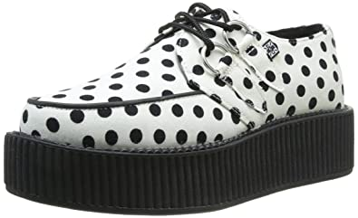 b75ce6df8f3fd Amazon.com | T.U.K. Creeper Shoe - White/Black Polka Dot Platform ...