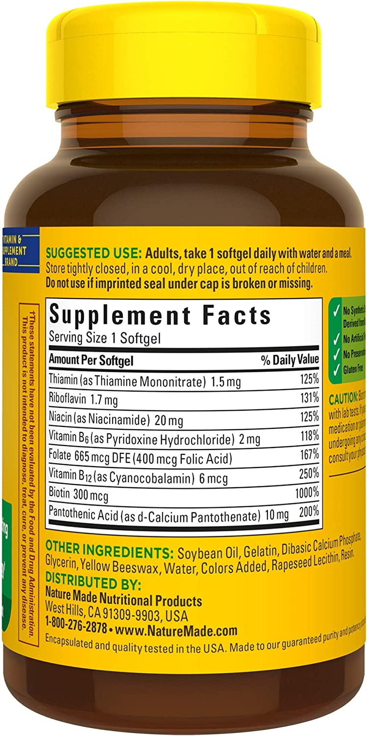 Nature Made Super B Energy Complex Softgels, 60 Count for Metabolic Health† (Packaging May Vary): Health & Personal Care