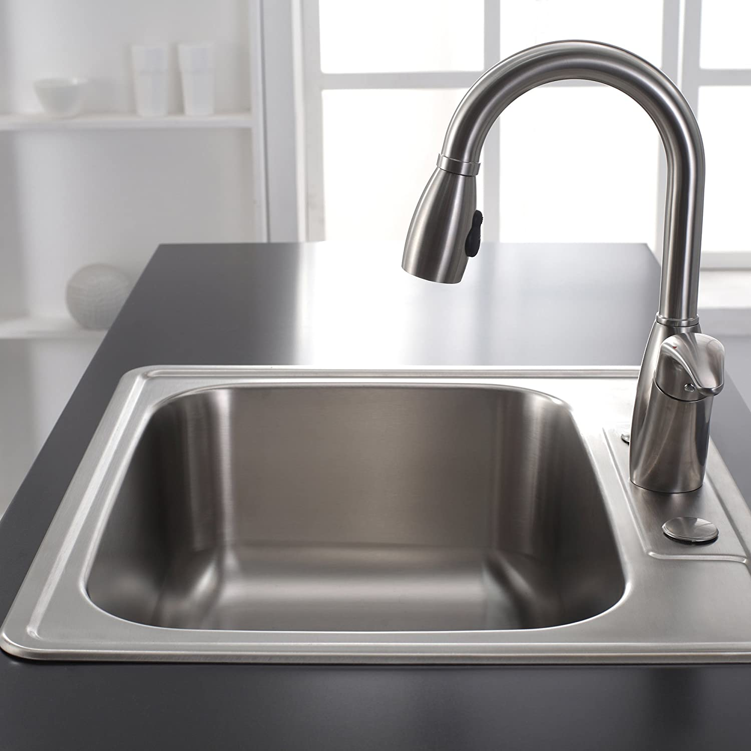 attractive Deepest Kitchen Sink #7: Kraus KTM25 25 inch Topmount Single Bowl 18 gauge Stainless Steel Kitchen  Sink - Double Bowl Sinks - Amazon.com