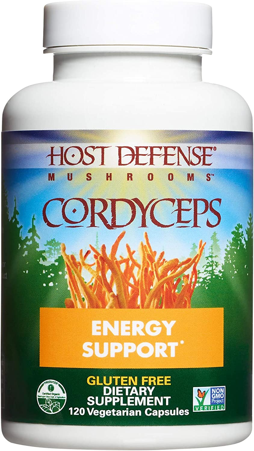 Host Defense, Cordyceps Capsules, Energy and Stamina Support, Daily Dietary Supplement, USDA Organic, 120 Vegetarian Capsules (60 Servings)
