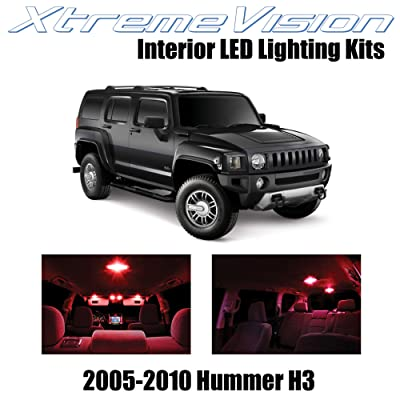 Xtremevision Interior LED for Hummer H3 2005-2010 (15 Pieces) Red Interior LED Kit + Installation Tool: Automotive