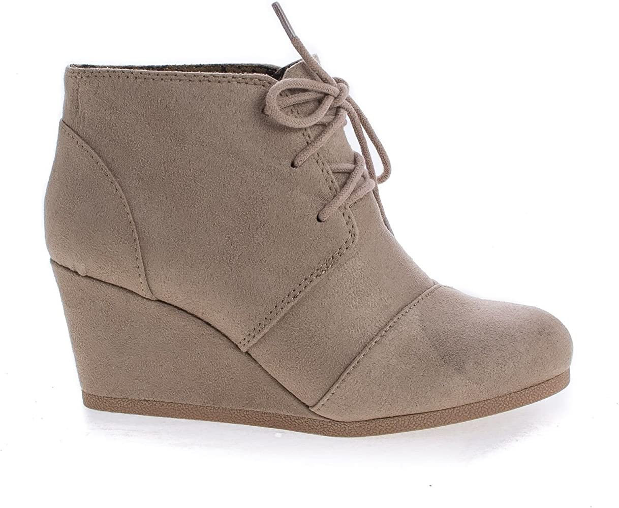 ec67a3eb22ab6 Lace Up Oxford Ankle Bootie Round Toe High Hidden Wedge Heel Women's Shoe  Light Taupe