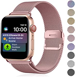 Amigao Compatible with Apple Watch Band 38mm 40mm,Stainless Steel Mesh Wristband Loop Replacement Band for iWatch Series 5 4 3 2 1,Rose Gold