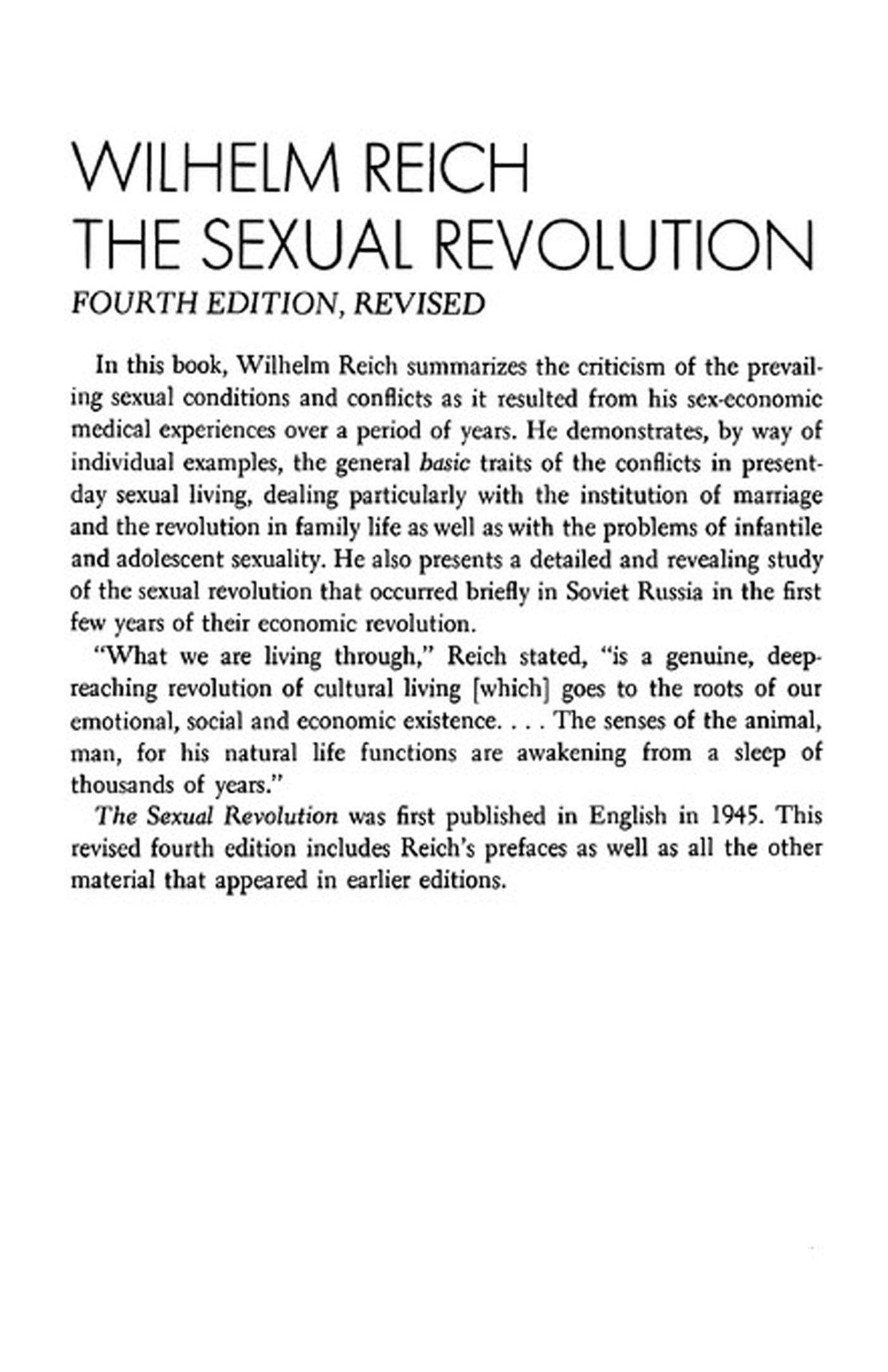 Wilhelm reich sexual revolution