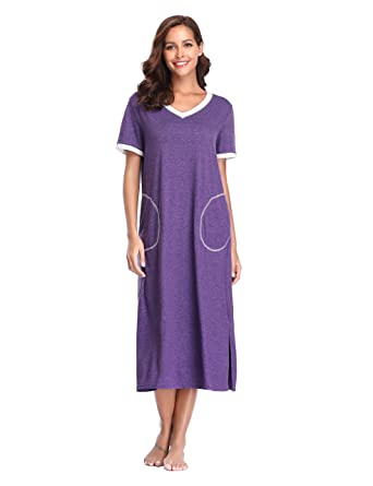 4aaadecdeb Lusofie Women Nightdress Cotton Short Sleeve Jersey Long Nightie with  Pockets and Side Splits (S