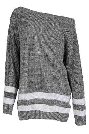Ladies Oversized Chunky Knitted Striped Womens Long Top Sweater Jumper Dress