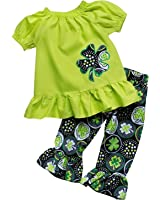 So Sydney Girls Lucky Girl Green Shamrock ST. Patrick's Day 2 Pc Boutique Outfit