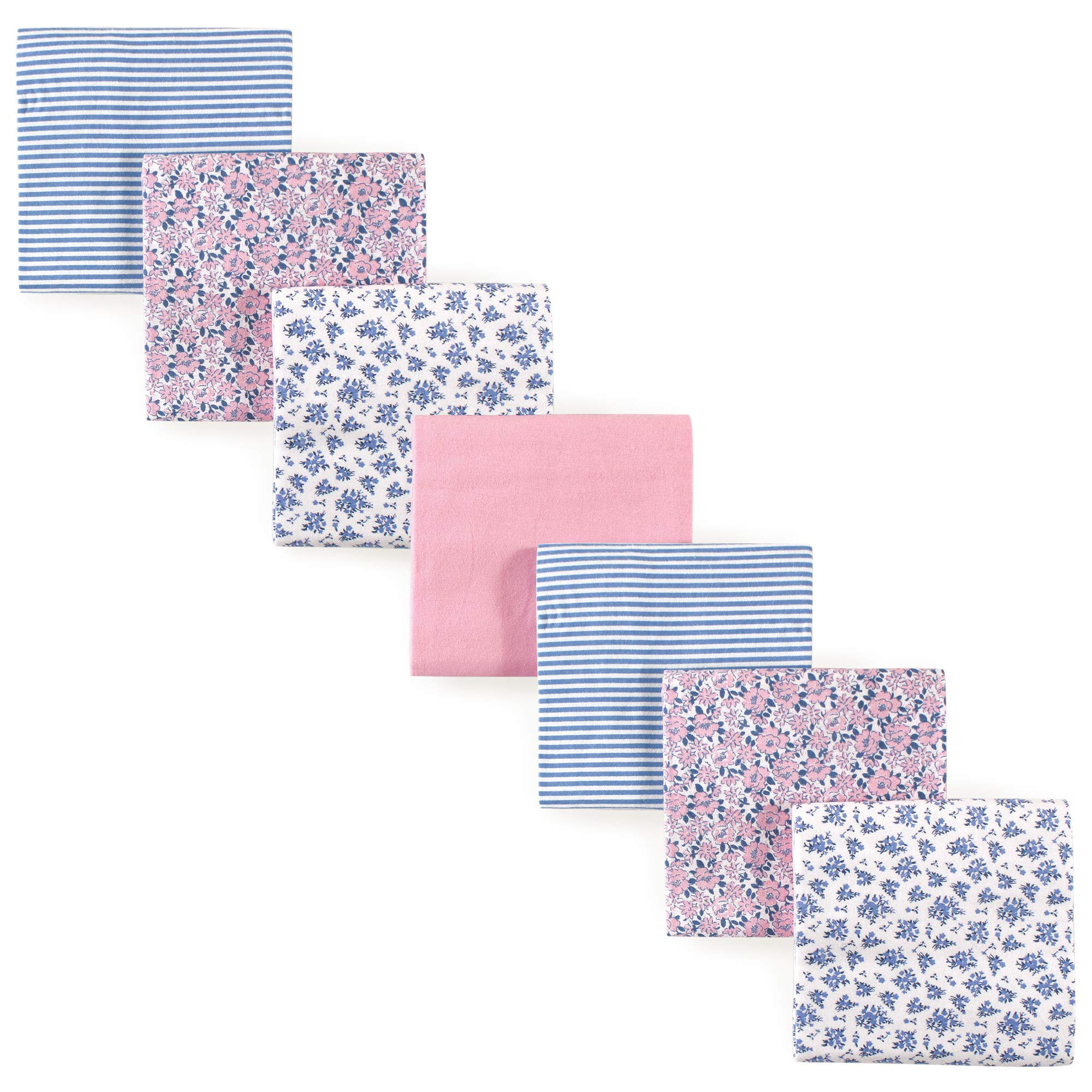 Hudson Baby 7 Piece Flannel Receiving Blanket, Classic Floral, One Size