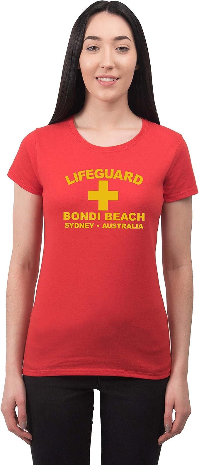 Women S Lifeguard Bondi Beach Sydney Australia Surfer Beach Fancy Dress T Shirt Amazon Co Uk Clothing