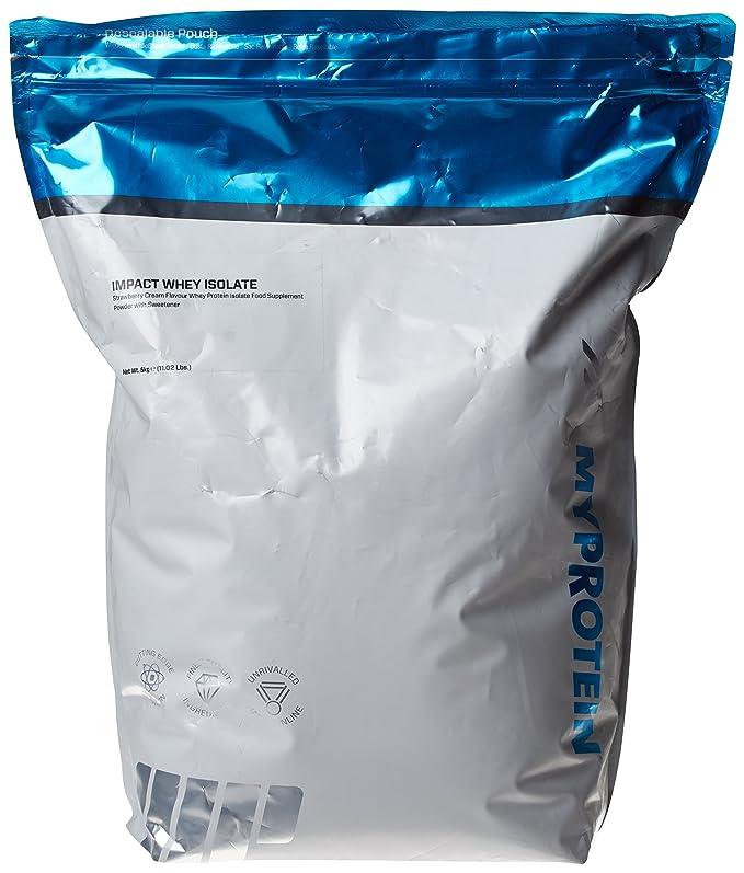 MyProtein Impact Whey Isolate Proteína de Suero, Sabor Fresas con Nata - 5000 gr: Amazon.es: Salud y cuidado personal